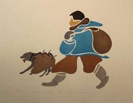 Walking with a dog. Agnes Nanogak. Ulukhaktok (Holman), NWT.
