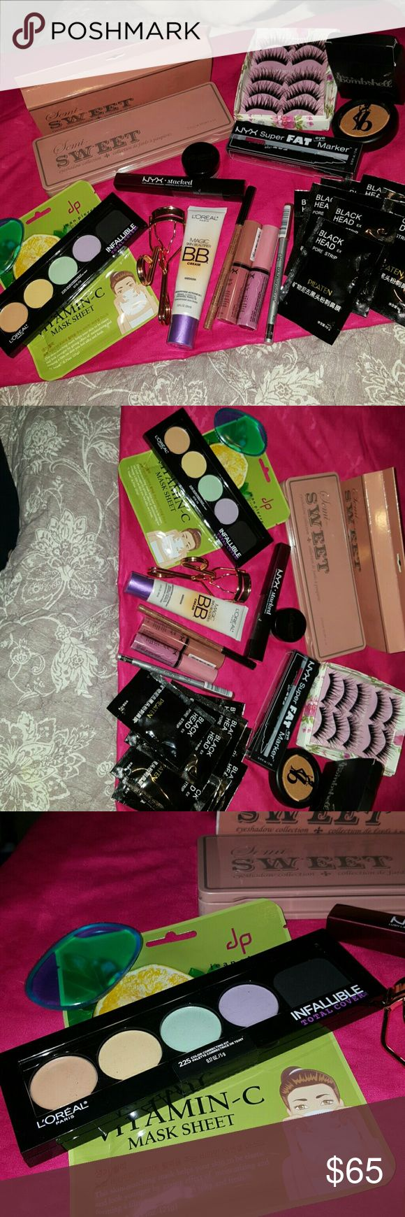 ?????HUGE Makeup Lot????? All new and sealed! You will receive everything u see in the pics! I have different shades of liners, glosses if needed. Eye shadow palettes, concealer palettes, mascara, eye liner, lip glosses, lip liners, black head strips, lashes, lash curler, blush, BB cream, glitter (for lips, eyes, body etc)! I will also send out a couple free gifts with this bundle. Please don't hesitate to ask any questions! Open to reasonable offers! Please no offers through comments. Ty…