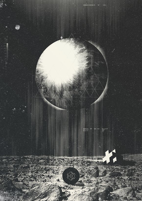 Wow, I love the vintage look and mixture of clean geometry and photography. The subtle effects are great and the piece gains complexity as you look all around it. Makes me think of a scifi poster or something photo documented by a moon landing.