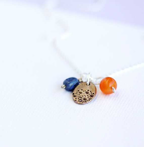 triple pendant and chain set bronze carnelian and by jewelflyt