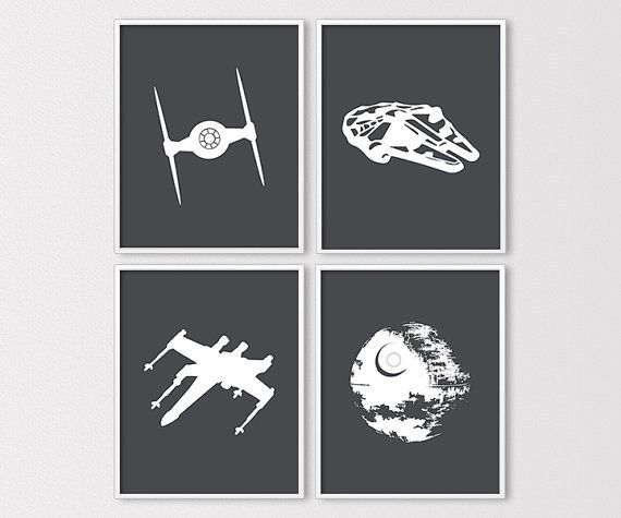 Star Wars Wall Art, Star Wars Ship Silhouettes, Star Wars Nursery Prints, Millenium Falcon, DeathStar, Tie Fighter, Instant Download