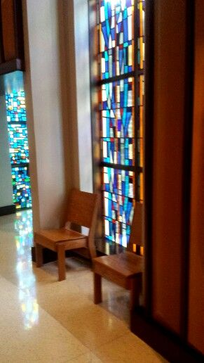 St. Monica Catholic Church Dallas. Love these utilitarian chairs...and the streaming light.