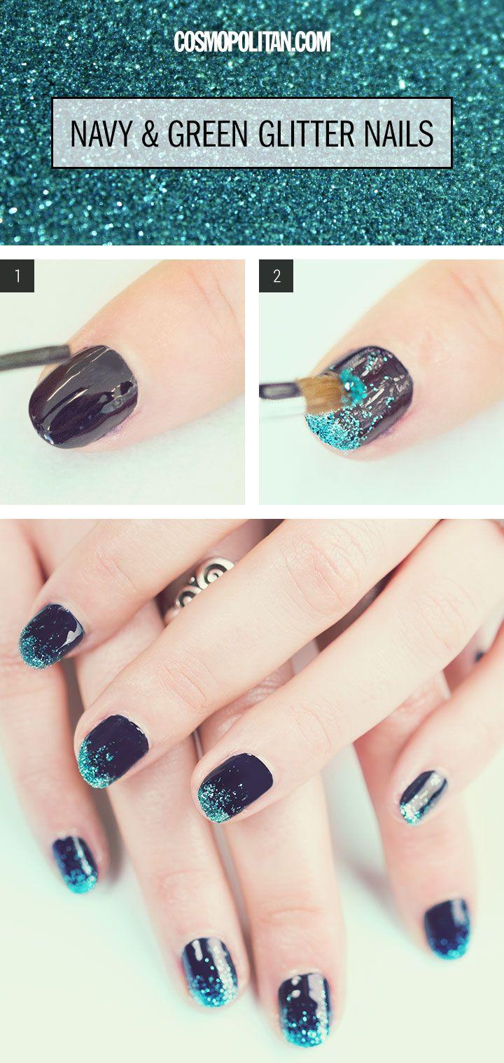 Glitter Manicure Nail Art How To - Green Glitter Nails Tutorial - Cosmopolitan