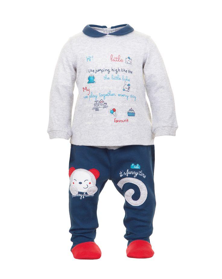 Prenatal - Moda Baby: abbigliamento da 0 ai 30 mesi per il tuo bambino, bimbo, bebè - Completi - Prenatal - Completo coprifasce grigio mélange e ghette blu