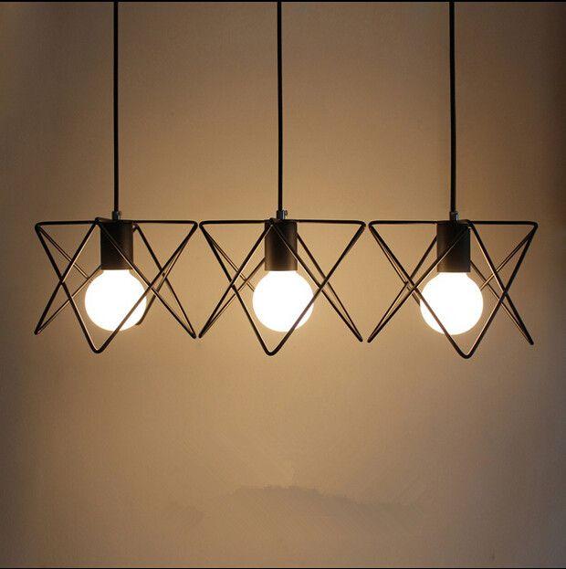 La lámpara colgante de época metal M jaula pantalla iluminación colgantes…