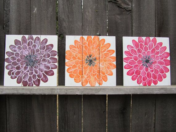 Gerbera daisy wall art girls room nursery decor white for Orange and purple walls