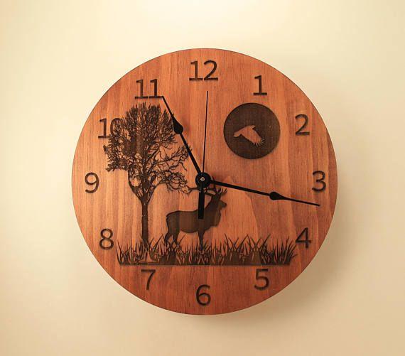 Pine laser cut deer clock Wood clock Wall clock Nature clock