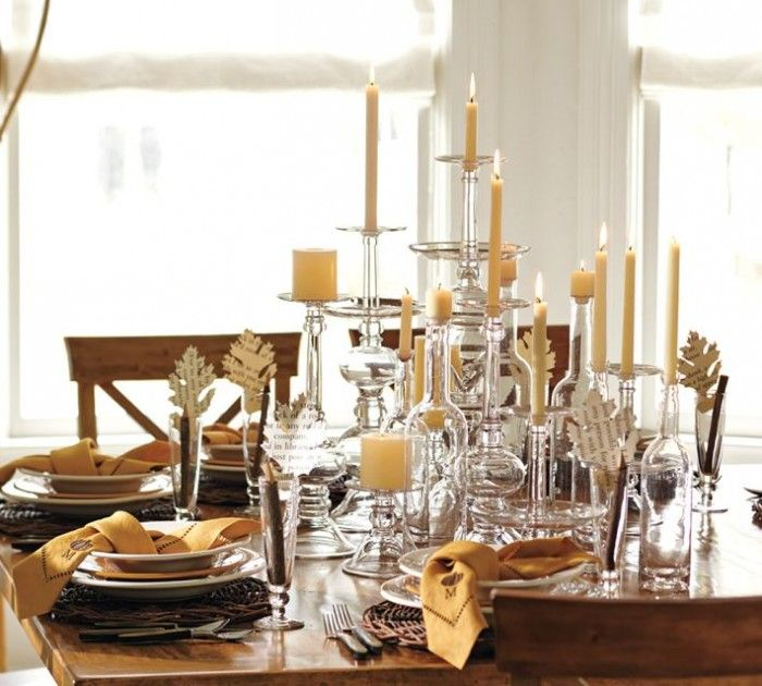 25 Creative Christmas Centerpiece Ideas 2013 EyeCatching Candle Decoration With Chic Glass Chandeliers And Cream Can