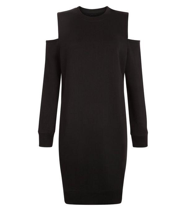Black Cold Shoulder Sweater Dress  | New Look