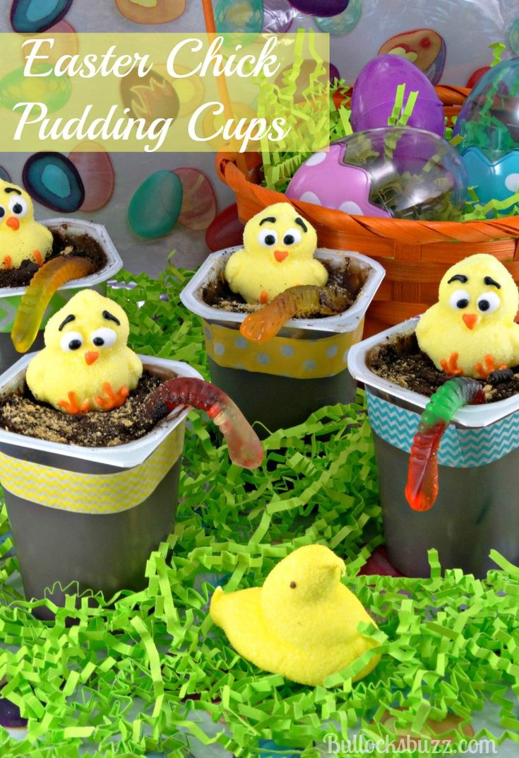 These Easter Chick Pudding Cups are an easy to make dessert that serves as a cute decoration, a fun craft and a tasty snack all in one! Best of all, they take just minutes to prepare! #SnackPackMixins #ad