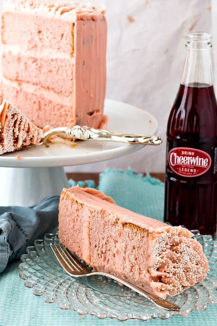 This Cheerwine layer cake is the perfect, pretty-in-pink, cherry-flavored birthday cake. It's also a wonderful way to wish Cheerwine a Happy 100th birthday!
