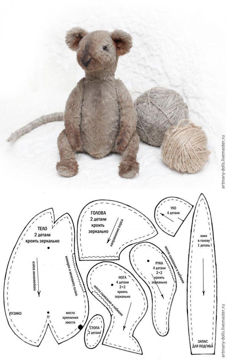 Как сделать хвост тедди игрушке - мышке или крысе / выкройка / Teddy toy mouse (rat) pattern