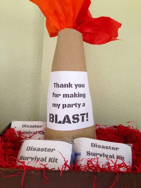Natural Disaster Themed Birthday Party for Kids! Volcano party favor display and homemade DIY disaster survival kit