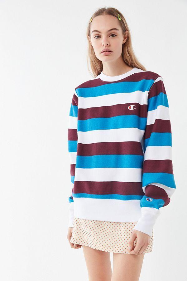 e3cc92949d2e Champion Oversized Striped Crew Neck Sweatshirt in 2019   New Arrivals    Crew neck sweatshirt, Champion pullover, Sweatshirt outfit