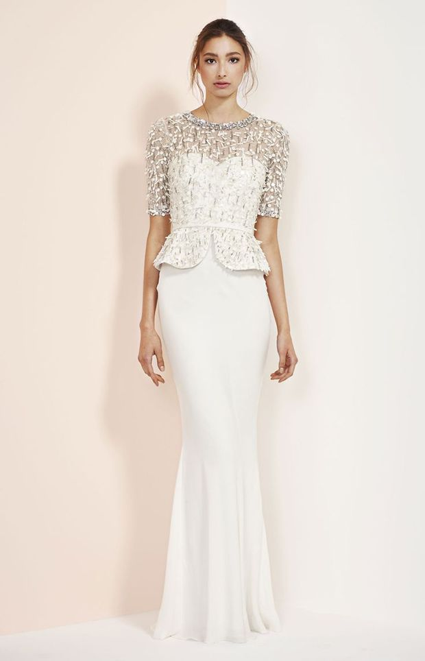 Rachel Gilbert Embellished Peplum Gown Bridal Fall 2014 | www.onefabday.com