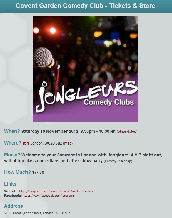 Join us at Jongleurs Comedy Club in Covent Garden for a great night of stand-up comedy in London. Your night will be full of laughs with 4 top comedians providing entertainment. Enjoy a hilarious night out with Jongleurs!     Junior Simpson, Act To Be Confirmed 2, James Dowdeswell, Janey Godley