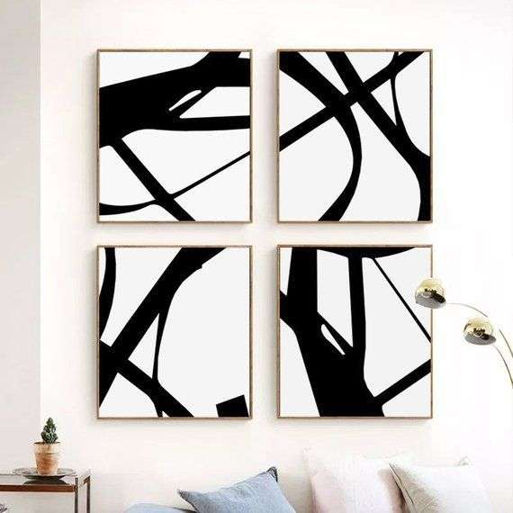 Black And White Art 4 Prints Abstract Lines Downloadable Art
