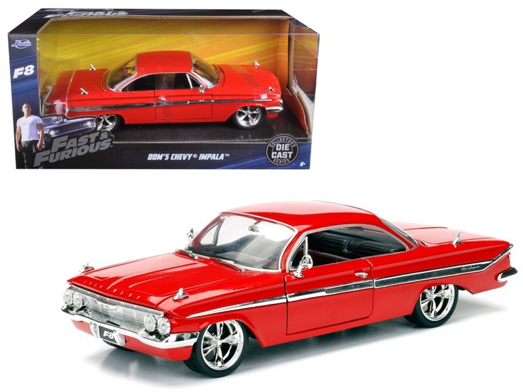"Dom's Chevrolet Impala Red Fast & Furious F8 ""The Fate of the Furious"" Movie 1/24 Diecast Model Car by Jada - Brand new 1:24 scale diecast model car of Dom's Chevrolet Impala Red Fast & Furious F8 ""The Fate of the Furious"" Movie die cast car model by Jada. Rubber tires. Brand new box. Detailed interior, exterior. Has opening hood and doors. Made of diecast with some plastic parts. Dimensions approximately L-8, W-3.75, H-3.25 inches. Please note that manufacturer may change packing box at any…"