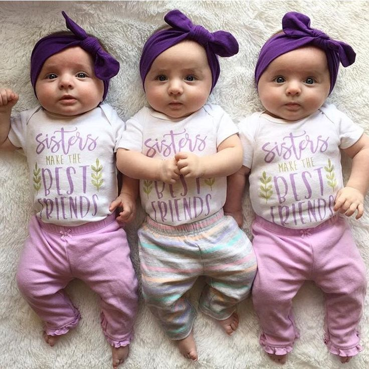 Baby sisters, triplets. Adorably baby onesies, super cute baby onesies! Triplet girls! Matching outfits! Matching shirts! Cute baby