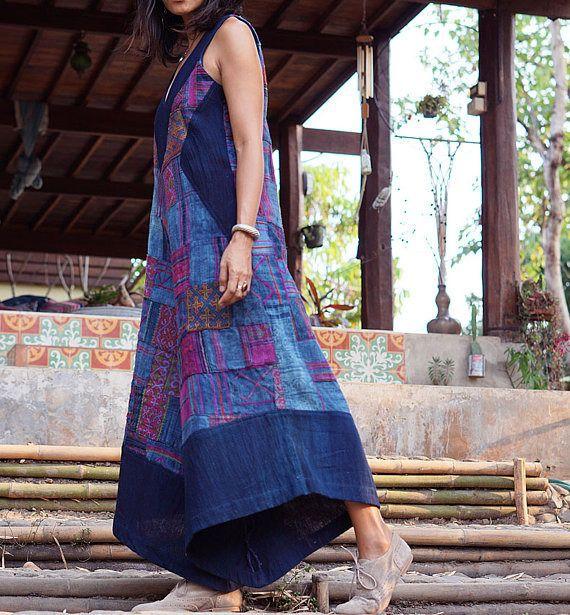 combinaison, robe, robe femme, robe bleu, combinaison en chanvre, robe indigo patchwork, robe indigo, robe Hmong,