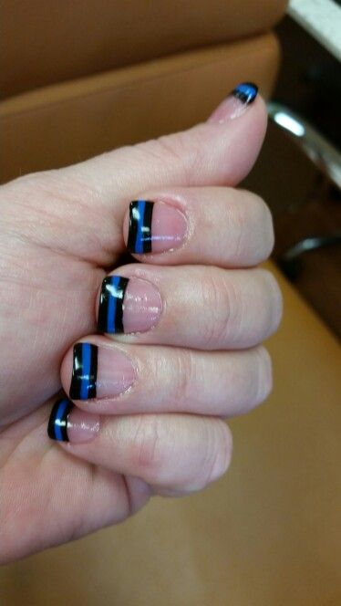 Law Enforcement Support Nails. Thin Blue Line. #policelivesmatter
