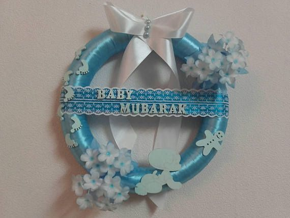 Check out this item in my Etsy shop https://www.etsy.com/listing/554247870/baby-mubarak-wreathaqiqah-giftbaby