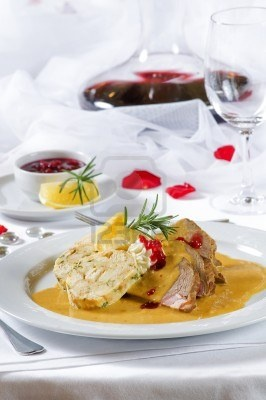 Svickova na Smetane (Marinated Beef Sirloin with cream, cranberry sauce and dumplings)