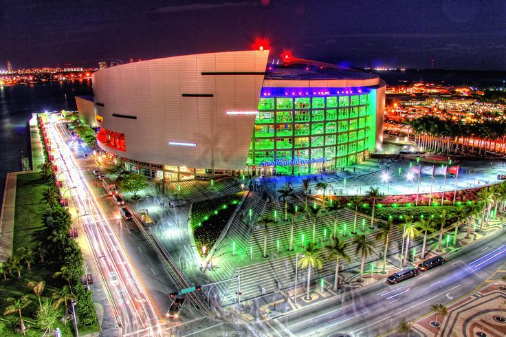 American Airlines Arena at Night, Downtown (Miami, Florida)