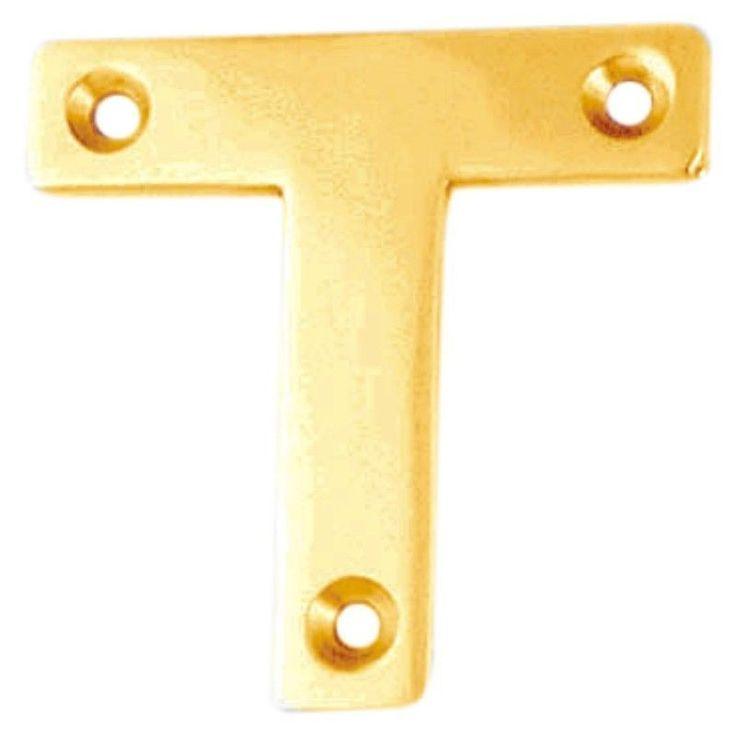 """Mending Plate -  Repairing Bracket Polished Brass 2"""" (""""T"""" Shape) . From Dushka Ltd, London, UK."""