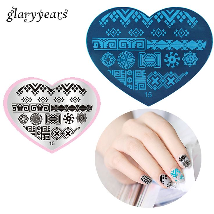 1 Sheet Stamping Plate Nail Art Heart Template Square Design for Beauty Women Manicures Nail Makeup Stencil DIY Sexy Product #15