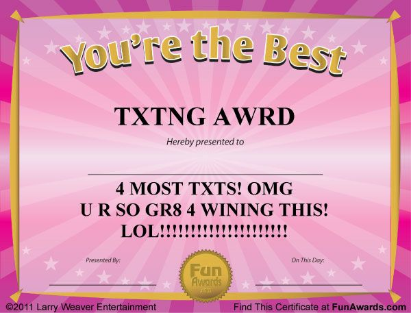 10 best funny award certificates images on pinterest for Funny certificates for employees templates