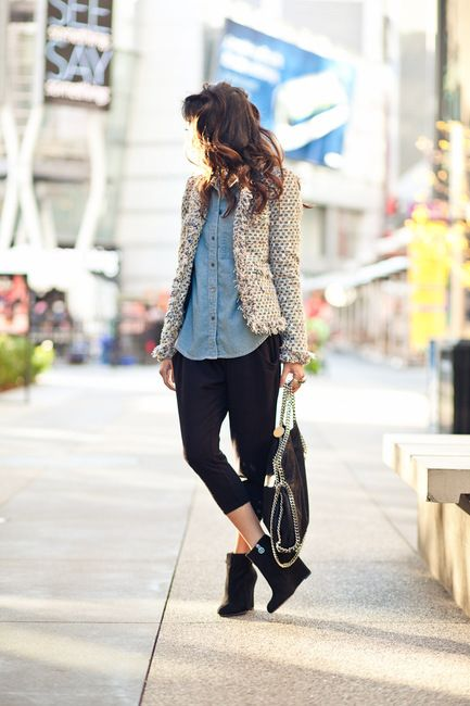 chambray.: Tweed Jackets, Fashion Street Style, Style Inspiration, Chambray Shirts, Street Styles, Harems Pants, Wendy Lookbook, Casual Tweed 1, Casual Outfits