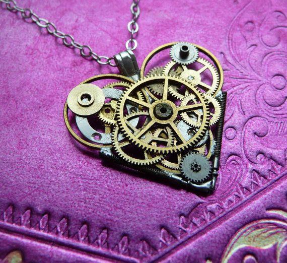 Clockwork Heart Necklace Ticktock Heart Elegant by amechanicalmind, $55.00: Heart Elegant, Gears Jewelry, Heart Steampunk, Clockwork Heart, Heart Necklaces, Fashion Accessories, Clocks Gears, Steampunk Necklace, Gears Heart