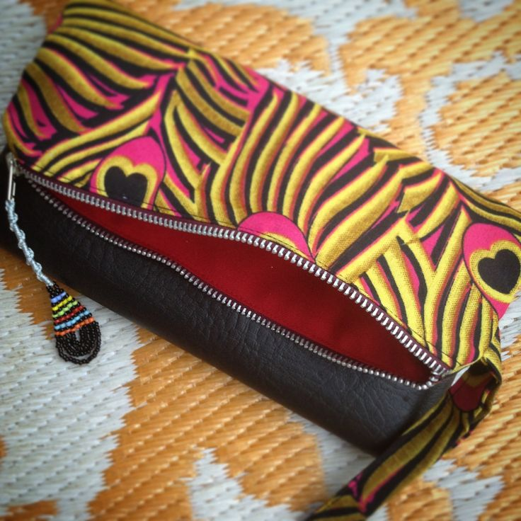 Fold Over Clutch Bag - Pink+Yellow Peacock African Wax Print with Black Faux Leather Trim - Bridesmaid's Gift - (PPBL4) by ChangNoii on Etsy