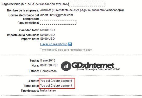Crebux en una PTC nueva que cuenta con muchos usuarios registrados y hay sospechas sobre su Admin. A pesar de ello me ha pagado y les muestro el comprobante