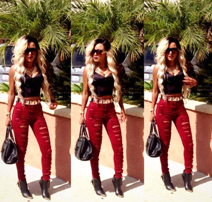 Crop top u0026 high waisted destroyed jeans. | Fashion Flave | Pinterest | Vegas outfits Love this ...