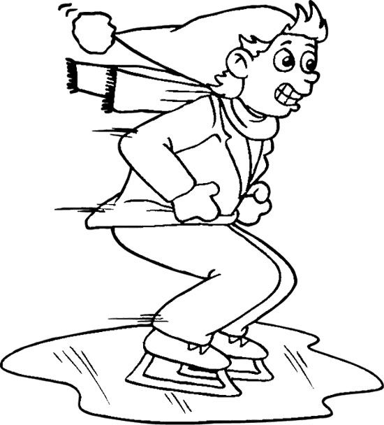 The Boy Ice Skating Coloring Page