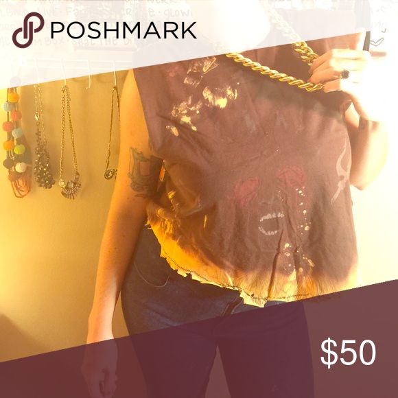 Poseidon crop top Distressed as fuck. Brown Poseidon crop top that I bleach dipped and colored orange on bottom and punk rock stitched. Cone studs on shoulder line. Ready to pair with your fave heels and jeans and boss out. Tops Crop Tops