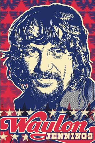 Waylon Jennings - Pop Art Print - 18 x 24 and 24 x 36