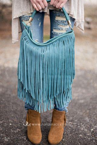 Salty Sea Suede Leather Fringe Purse In Teal - NanaMacs.com