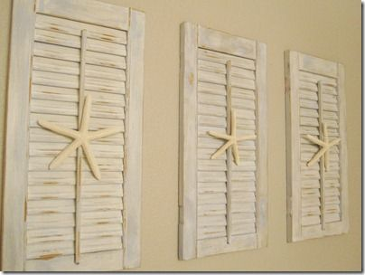 old shutters - find a receipe for chalk paint, add a starfish and you have a cute wall.