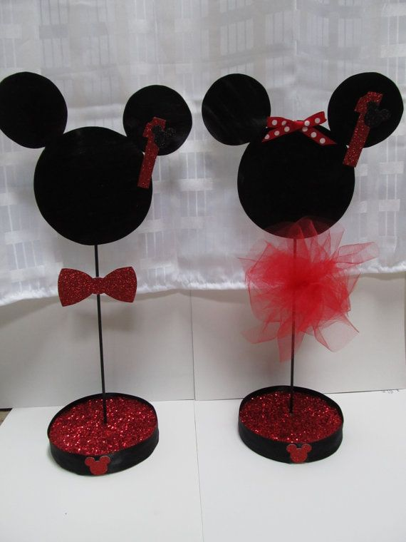 Etsy glittered minnie and mickey mouse themed by