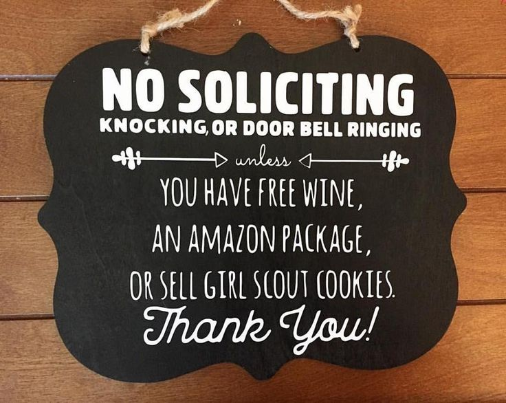 No Soliciting Sign Amazon Wine Girl Scout Cookies