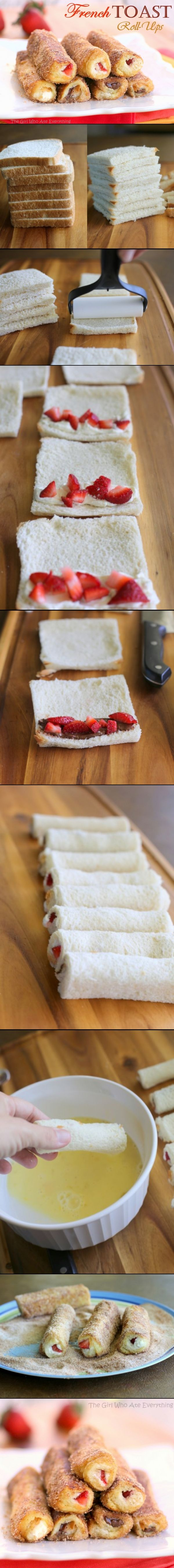 Easy and fun French toast roll ups. Fill them with cream cheese and berries or nutella and bananas. Instructions are in a different language but the photos make it pretty much self explanatory.