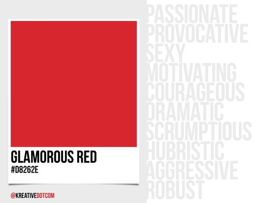 How does the color GLAMOROUS RED ( make you feel? What emotions does it  evoke in design?