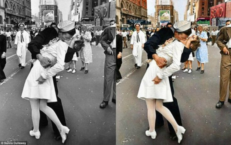 Black and white historical pictures get colors. Still the magical effect of the black and white is beautiful... V-J Day Time Square kiss (1945), what a picture!