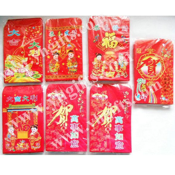 250 ШТ./МНОГО. Маленький красный пакет Деньги пакет, весенний фестиваль продукты, Китайский новый год орнамент. Hongbao. Mixed дизайн, 7.5x11 см