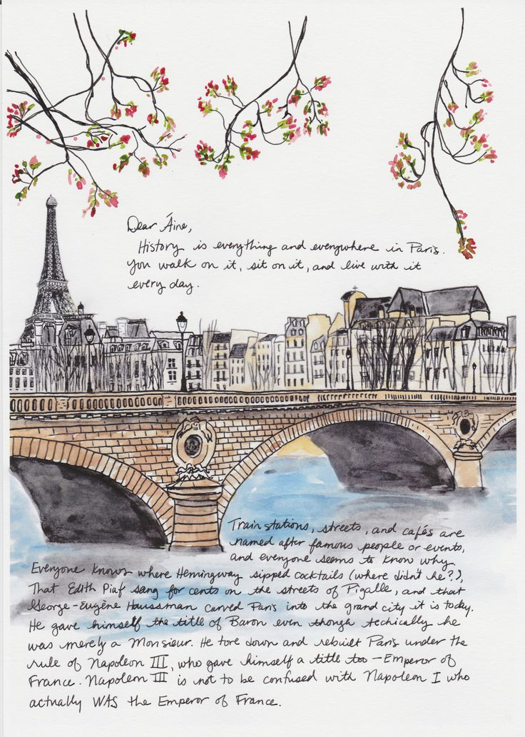 Take a trip on the Seine - one of Janice MacLeod's painted letters from Paris from her book PARIS LETTERS
