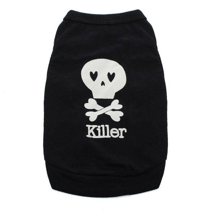 Gato Perro Pequeño Cachorro Camiseta Chaleco Abrigo Ropa para mascotas ropa de verano Trajes Negro