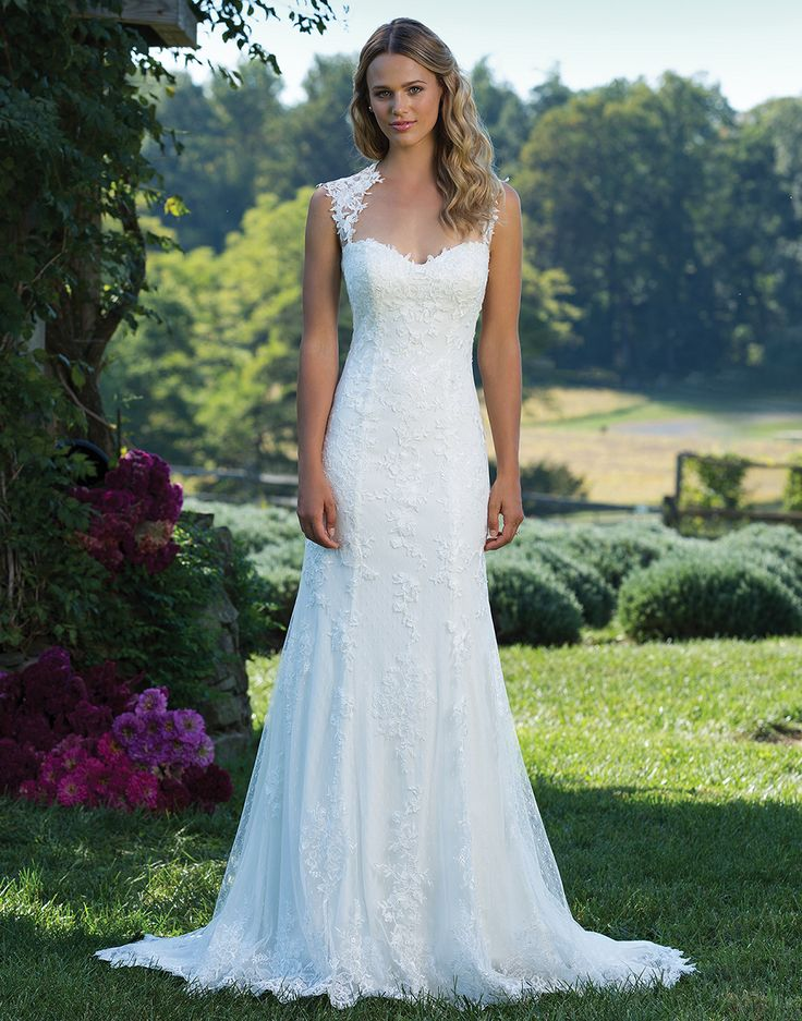 Sincerity wedding dress style 3885 A Queen Anne neckline accents this point d'esprit and intricate lace straight gown. Finished hem lace and stretch Jersey complete this princess look.